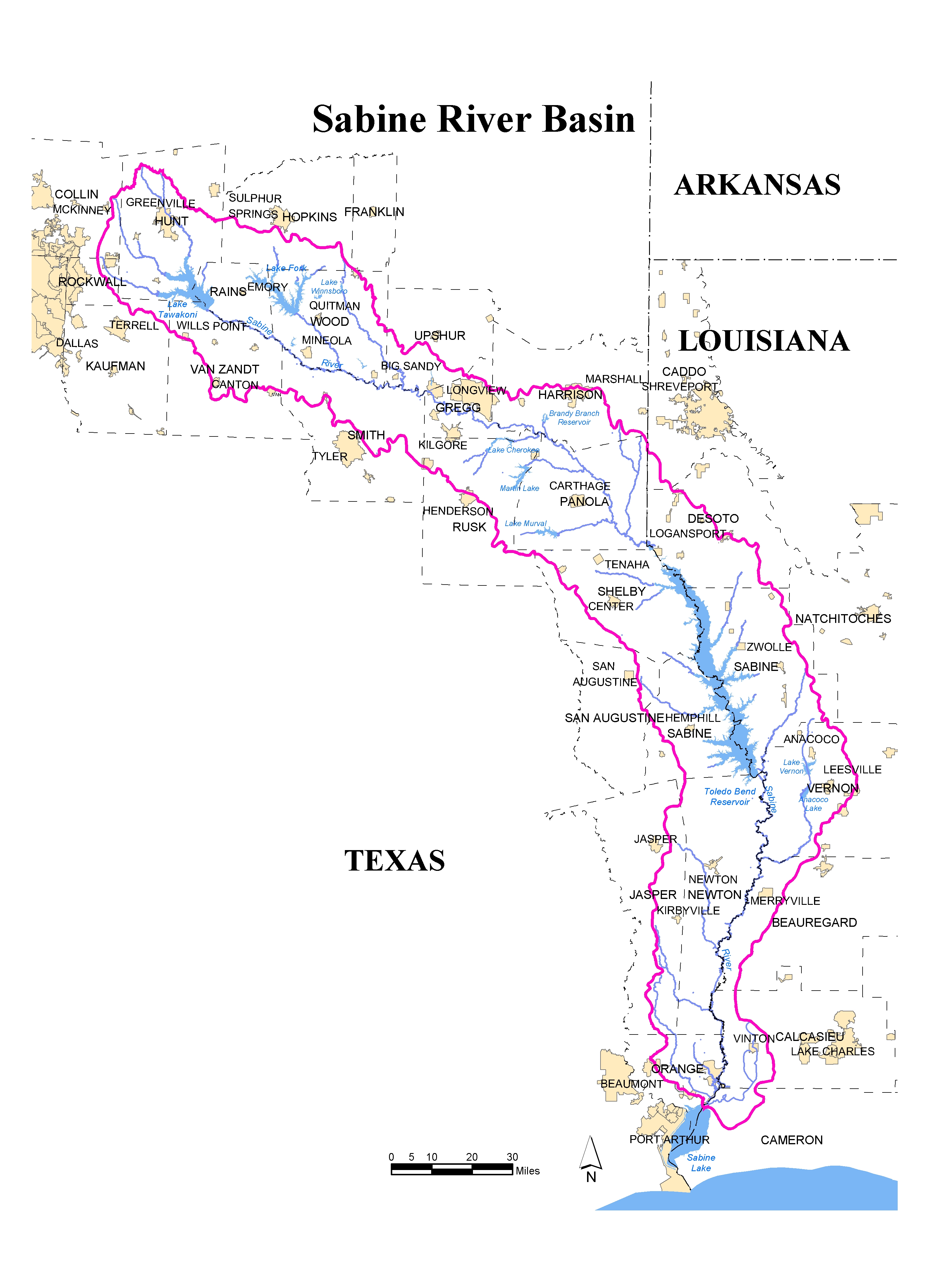 Map of the Sabine River Basin